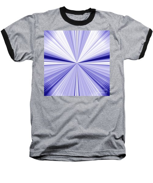 Starburst Light Beams In Blue And White Abstract Design - Plb455 Baseball T-Shirt