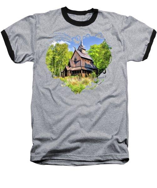 Stavkirke Church On Washington Island Door County  Baseball T-Shirt