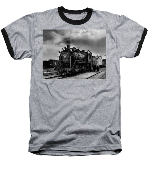 Steam Locomotive In Black And White 1 Baseball T-Shirt