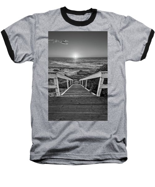 Steps To The Sun  Black And White Baseball T-Shirt