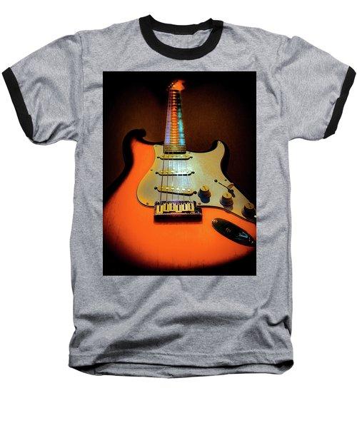Baseball T-Shirt featuring the digital art Stratocaster Triburst Glow Neck Series by Guitar Wacky