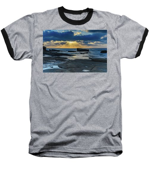 Sun Rays Burst Through The Clouds - Seascape Baseball T-Shirt