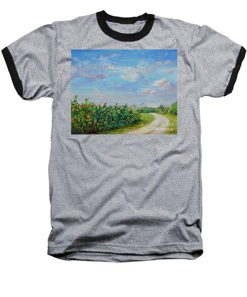 Sunflower Field Ptg Baseball T-Shirt