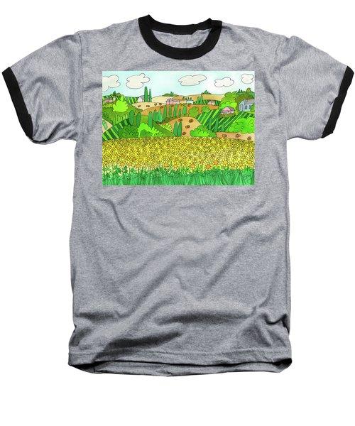 Sunflower French Countryside Baseball T-Shirt
