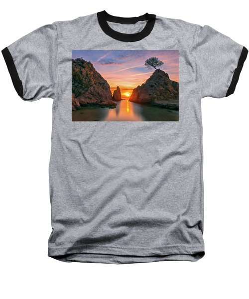 Sunrise In The Village Of Tossa De Mar, Costa Brava Baseball T-Shirt
