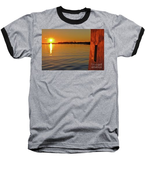 Sunset And Old Watermill Baseball T-Shirt