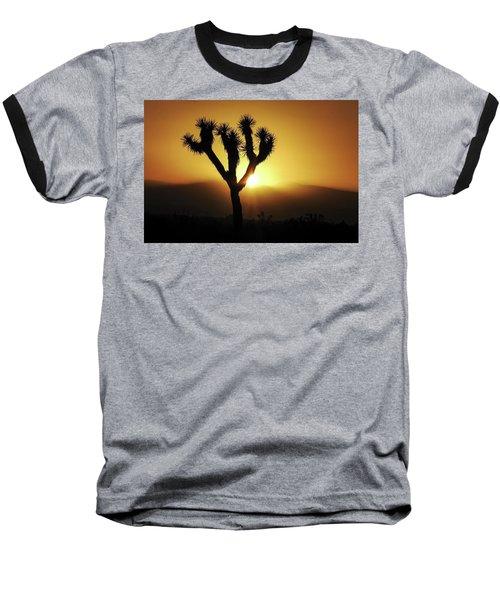 Sunset Behind Joshua Tree Baseball T-Shirt