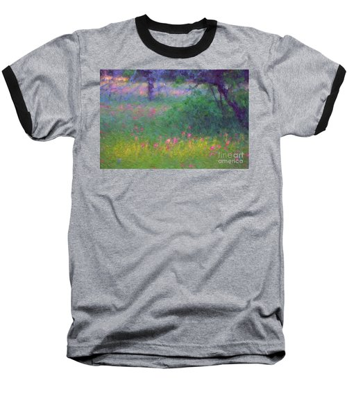 Sunset In Flower Meadow Baseball T-Shirt