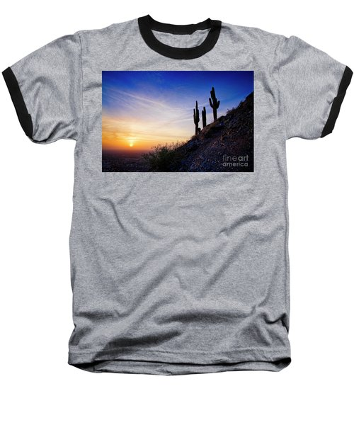 Sunset In The Desert Baseball T-Shirt