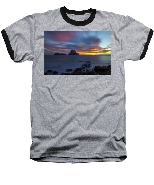 Sunset In The Mediterranean Sea With The Island Of Es Vedra Baseball T-Shirt