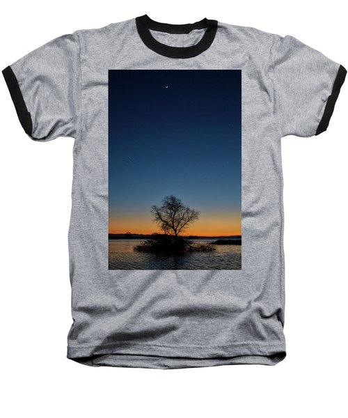 Sunset In The Refuge With Moon Baseball T-Shirt