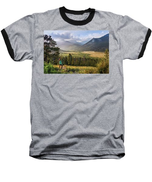 Baseball T-Shirt featuring the photograph Sunset In The Rockies by James Woody
