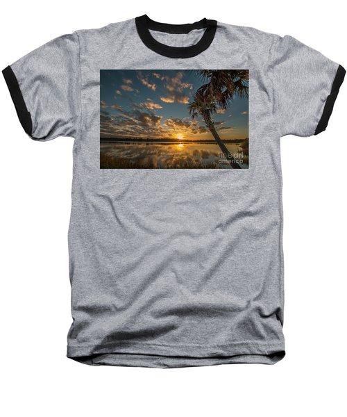 Sunset On The Pond Baseball T-Shirt