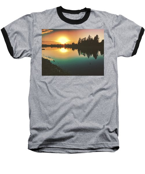 Sunset River Reflections  Baseball T-Shirt
