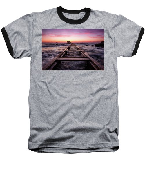 Sunset Shining Over A Wooden Pier In Livorno, Tuscany Baseball T-Shirt