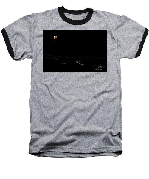 Super Blood Wolf Moon Eclipse Over Lake Casitas At Ventura County, California Baseball T-Shirt