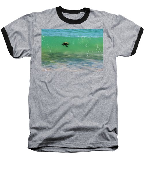 Surfing Turtle Baseball T-Shirt
