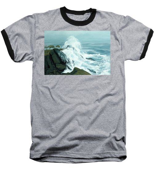 Surging Waves Break On Rocks Baseball T-Shirt