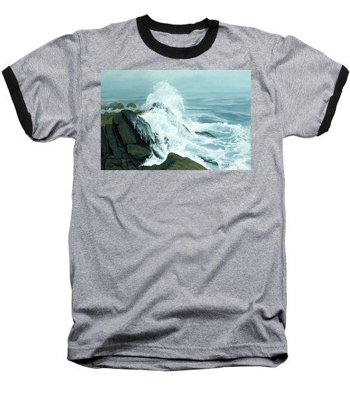 Surging Waves Break On Rocks Baseball T-Shirt