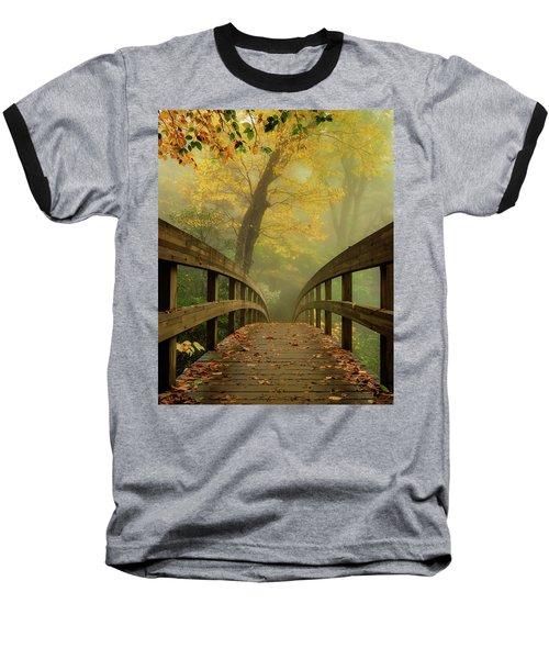 Tanawha Trail Blue Ridge Parkway - Foggy Autumn Baseball T-Shirt