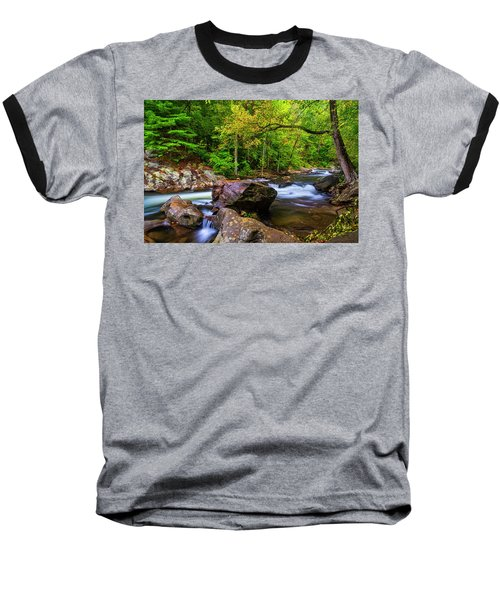 Baseball T-Shirt featuring the photograph Tellico River Serenity by Andy Crawford