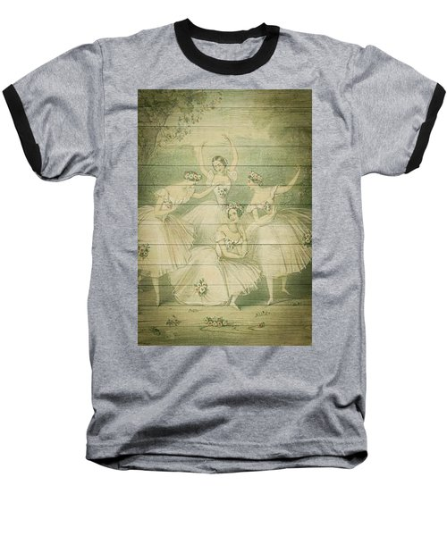 The Ballet Dancers Shabby Chic Vintage Style Portrait Baseball T-Shirt