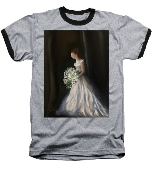 Baseball T-Shirt featuring the painting The Big Day by Fe Jones