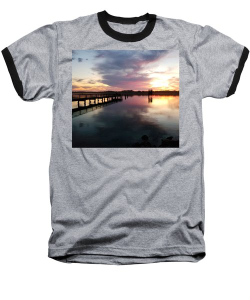 The Hollering Place Pier At Sunset Baseball T-Shirt