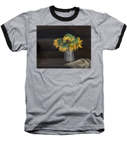 Baseball T-Shirt featuring the painting The Sun Flowers  by Fe Jones
