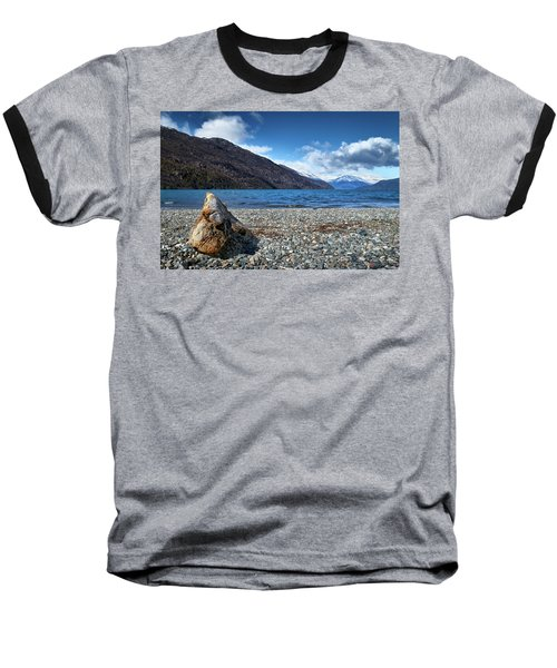 Baseball T-Shirt featuring the photograph The Trunk, The Lake And The Mountainous Landscape by Eduardo Jose Accorinti