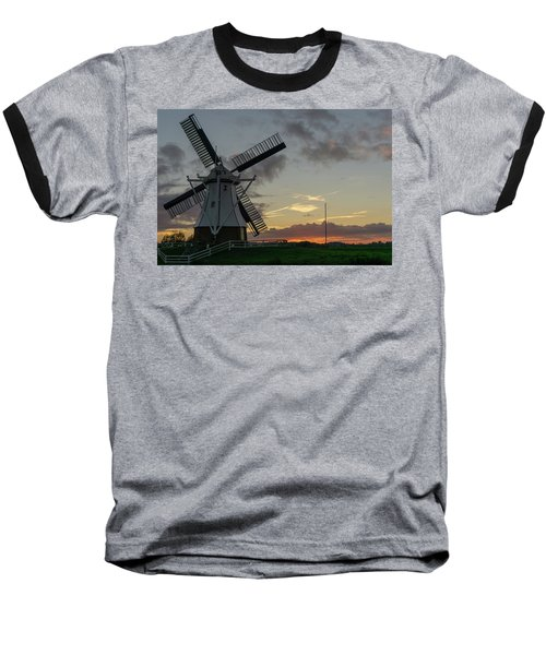 Baseball T-Shirt featuring the photograph The White Mill by Anjo Ten Kate