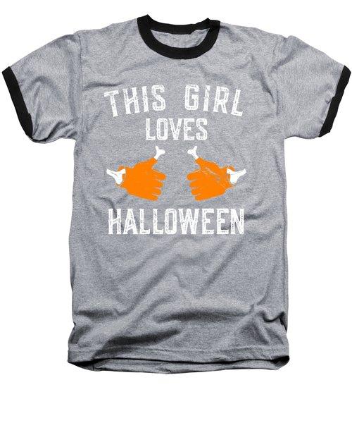 This Girl Loves Halloween Baseball T-Shirt