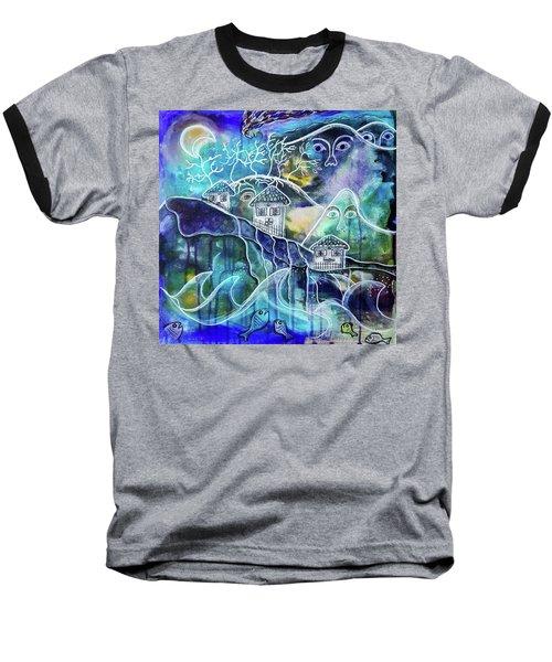 Three Houses On A Cliff Baseball T-Shirt