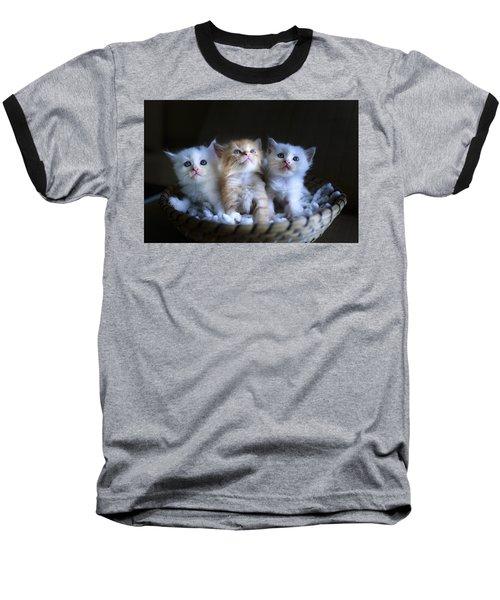 Three Little Kitties Baseball T-Shirt