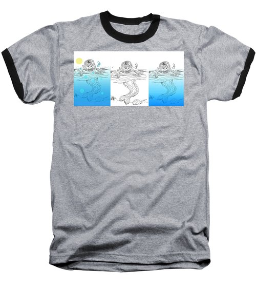 Three Mermaids All In A Row Baseball T-Shirt