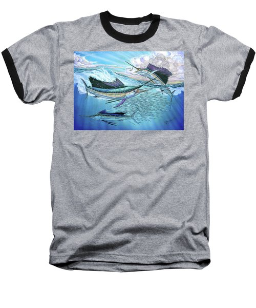 Three Sailfish And Bait Ball Baseball T-Shirt