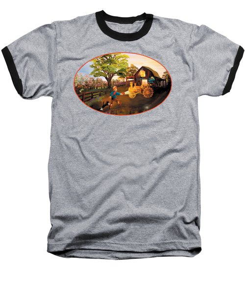 Tractor And Barn Baseball T-Shirt