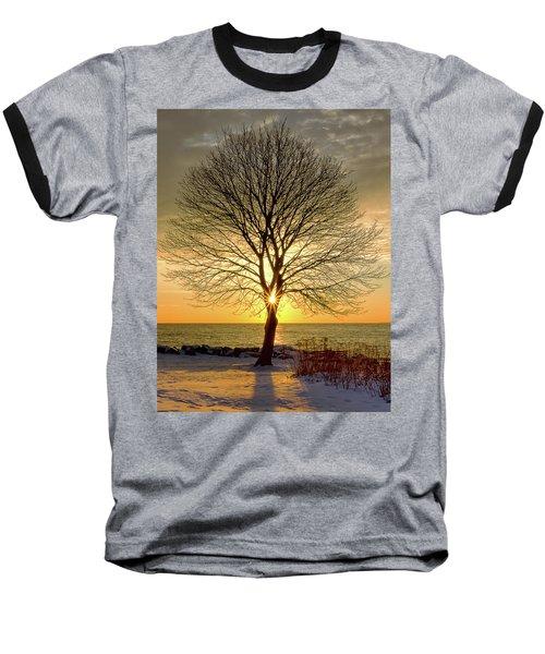 Tree Framed Sunrise New Hampshire Baseball T-Shirt