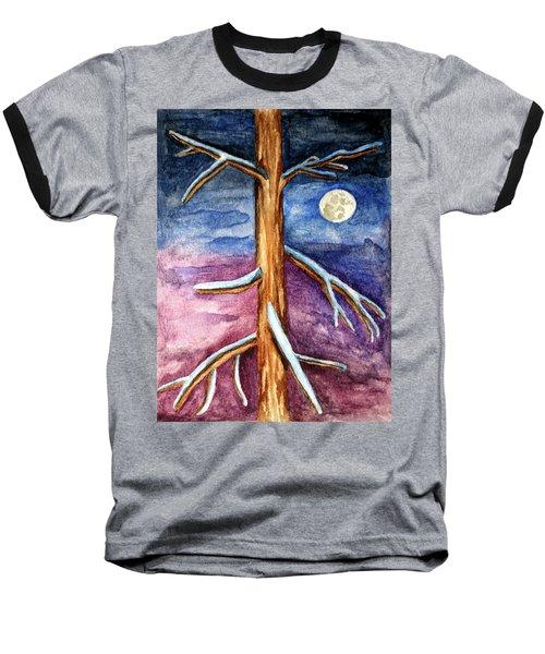 Tree In Winter Moonlight Baseball T-Shirt