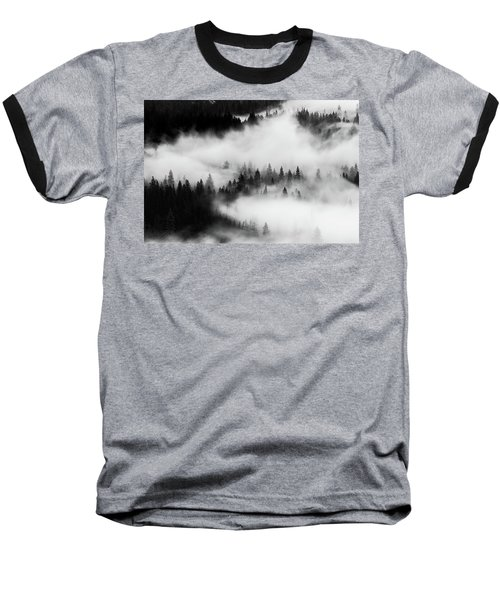 Baseball T-Shirt featuring the photograph Trees In The Mist 1 by Stephen Holst