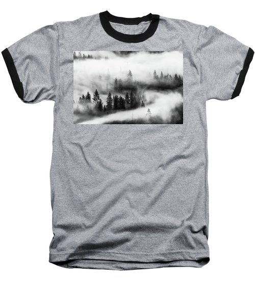 Baseball T-Shirt featuring the photograph Trees In The Mist 2 by Stephen Holst