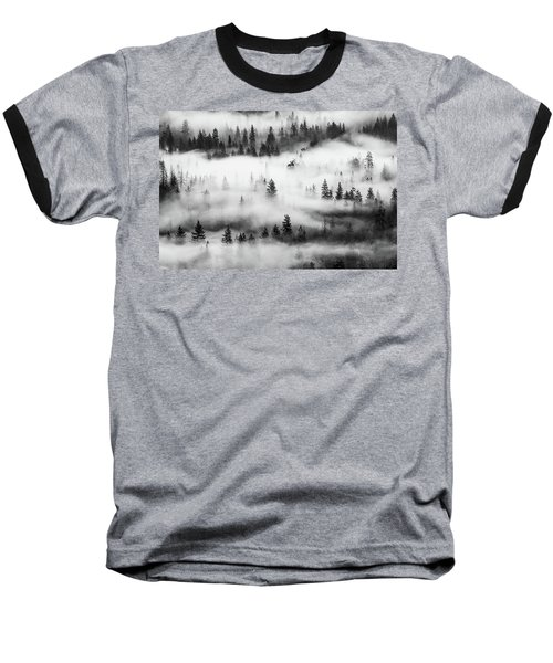 Baseball T-Shirt featuring the photograph Trees In The Mist 3 by Stephen Holst