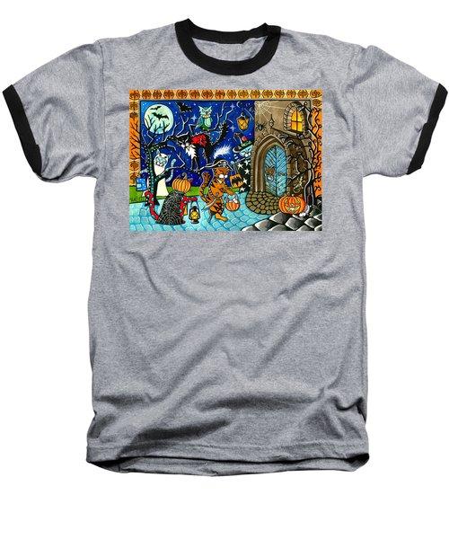 Trick Or Treat Halloween Cats Baseball T-Shirt