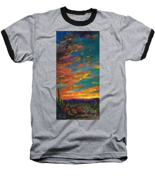 Triptych 1 Desert Sunset Baseball T-Shirt