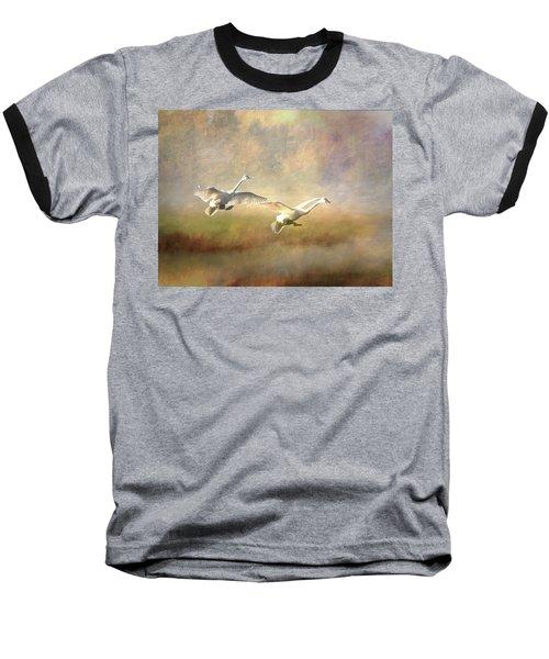 Trumpeter Swan Landing - Painterly Baseball T-Shirt