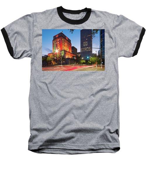Twilight Photograph Of Houston City Hall Astros Baseball World Series 2017 - Downtown Houston Baseball T-Shirt