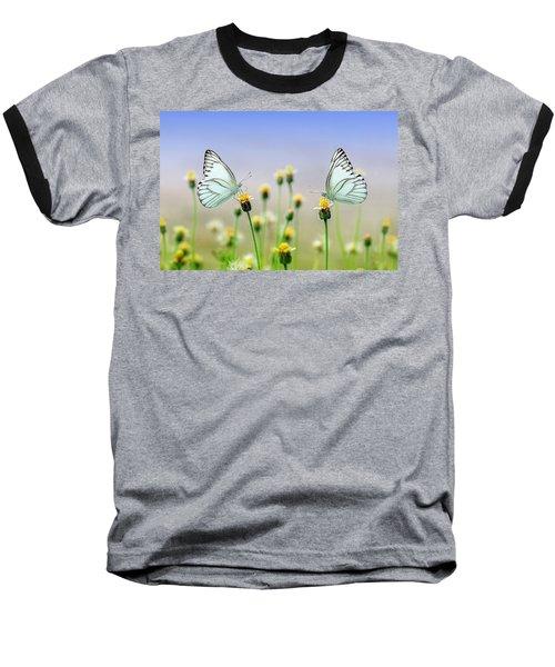 Two Butterflies Baseball T-Shirt