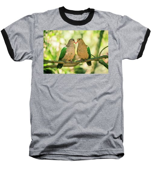 Two Colourful Doves Resting Outside On A Branch. Baseball T-Shirt