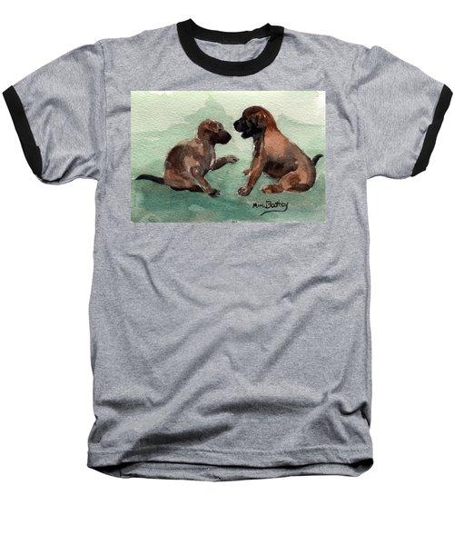 Two Malinois Puppies Baseball T-Shirt