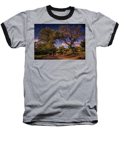 Two Old Oak Trees At Sunset Baseball T-Shirt